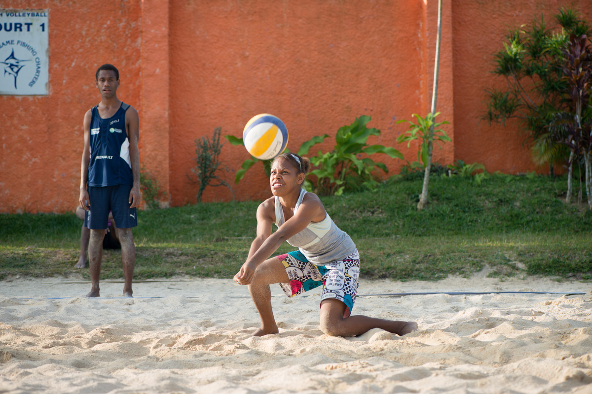 I followed some of the Wan Smolbag youth down to the beach volleyball courts. This is what I saw.