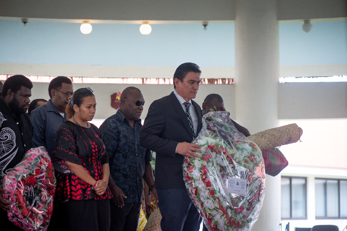 Deputy Prime Minister Moana Carcasses pays his respects.