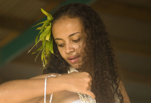 A Fijian dancer performs on Port Vila's Seafront Stage.