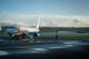 Air Vanuatu's 737 prepares for departure.