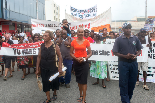 Florence Lengkon leads a march calling for an end to violence against women in Vanuatu.