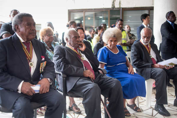 Past Presidents of Vanuatu sitting together at the funeral of President Baldwin Lonsdale