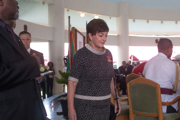 Governor General of New Zealand Dame Patsy Reddy enters Vanuatu's Parliament to attend the state funeral of President Baldwin Lonsdale.