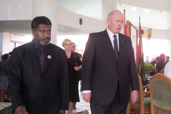 Governor General of Australia Peter Cosgrove enters Parliament to attend the state funeral of Vanuatu President Baldwin Lonsdale.