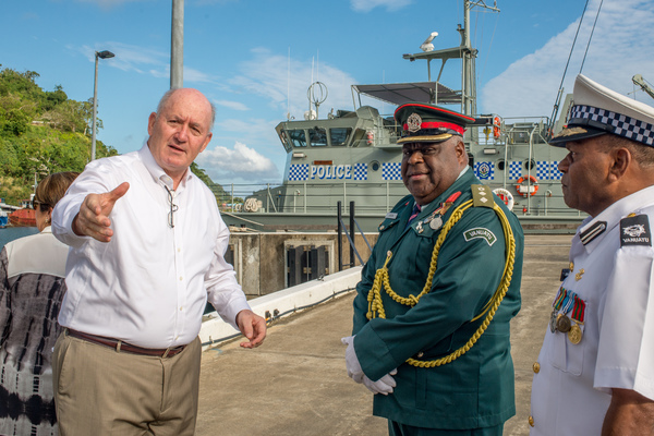 Governor General of Australia Peter Cosgrove visits the Mala naval base and inspects the Vanuatu Police Maritime Wing.