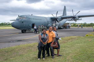 Australian governor general Peter Cosgrove's visit to Tanna underlines how much work remains to be done in the aftermath of cyclone Pam. Disembarking from an RAAF C130 on Tanna island.