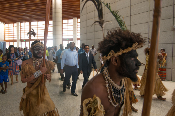 Futunese kastom dancers escorted prime minister Charlot Salwai and other dignitaries into the opening ceremonies of ICT Days 2016.