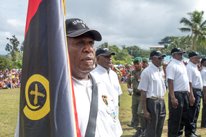 Members of a contingent of retired colonial police officers.