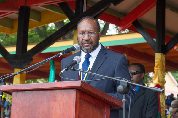 Prime Minister Charlot Salwai delivers his Independence Day address.