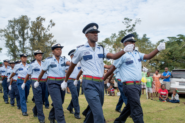 A Vanuatu Police Force detachment marches onto the parade ground.