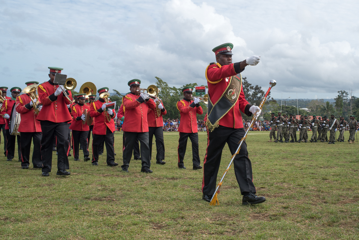 Members of the VMF Band march onto the parade ground.