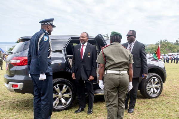 PM Charlot Salwai arrives at the 2017 Independence Day celebrations.