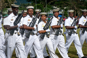 Members of the POlice Maritime Wing march during the 2017 Independence Day celebrations.