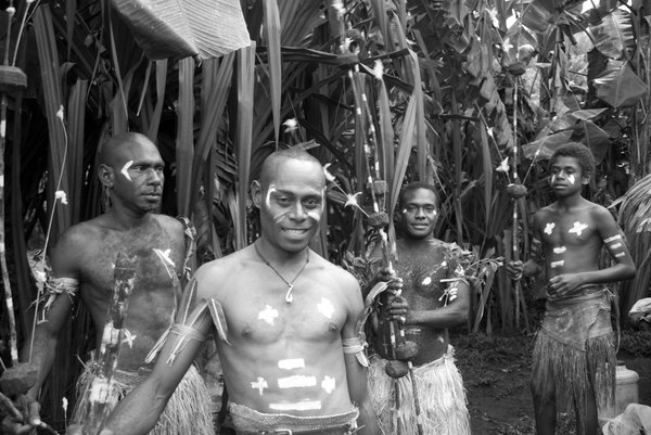 Kastom dancers from the Banks group of islands.