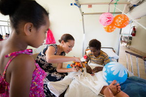 Miss Vanuatu Valerie Martinez visits the children's ward at Vila Central Hospital.