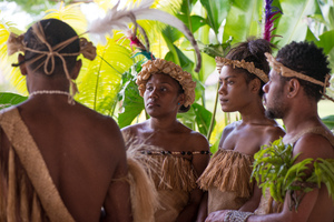 Futunese kastom dancers waiting to greet Prime Minister Joe Natuman at the opening ceremony for Pacific ICT Days 2015.