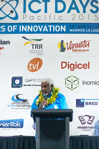 Prime Minister Joe Natuman at the opening ceremony of Pacific ICT Days 2015.