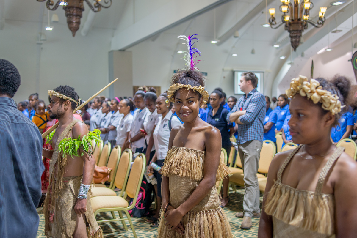 Kastom dancers from Futuna welcome Prime Minister Joe Natuman to the opening ceremony of Pacific ICT Days 2015.
