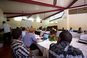 Prime Minister Moana Carcasses Kalosil speaks at the meeting in which the committee formally endorsed the draft national ICT policy.