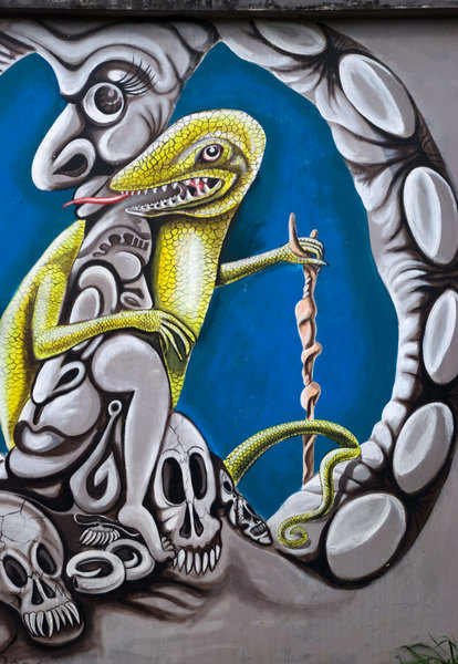 Detail from a mural painted by talented Erromango artist Andrew Tovovur.