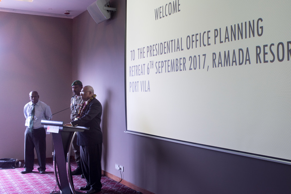 President Tallis opens the first ever presidential office planning retreat at the Ramada Resort in Port Vila.
