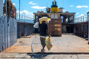 A locked container holding relief supplies has been loaded onto the MV Tauraken for delivery to TAFEA outer islands.