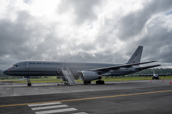 This Boeing 757-2K2 is the plane used by Foreign Affairs minister Murray McCully on his visit to Vanuatu. It masses approximately 14,000 kg heavier than an Airbus A320, which was used by Air New Zeland in their Port Vila service.