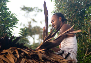 Repairing a roof thatched with natangura leaves. Even after  3000 years, it's still the strongest, cheapest most effective roofing available in Vanuatu. I've seen natangura roofs in almost pristine condition after a hurricane that tossed lengths of corrugated metal around like paper.