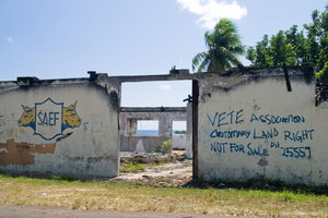 This derelict building, located in a high-value location overlooking Vila bay, is adorned with what's become the signature of a local land-rights activist group, which claims much of this part of Efate island based on linguistic grounds - most of the place names in this area are in the language of the Shepherds group of islands. Logically, then (according to the Vete Land Association) the kastom ownership must derive to the people of the Shepherds.