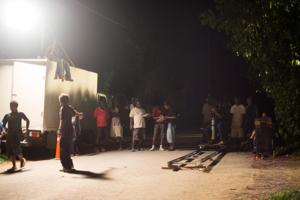 A night shoot (the first of three) in Blacksand with Wan Smolbag's Love Patrol.