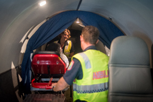 Guests were treated a a dress-rehearsal as ProMedical and South Pacific Air Ambulance staff put the new aircraft through its paces, simulating the loading of a patient using a custom-built electrical ramp.