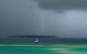 Weather is very changeable in Port Vila. It's not at all unusual to see three or four such showers roll across the bay on an otherwise sunny day.
