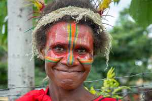 Kastom Dancers from Tanna arrived quite literally by the truckload at the 35th independence day ceremonies in Port Vila, Vanuatu. Over 400 of them performed in the finale.