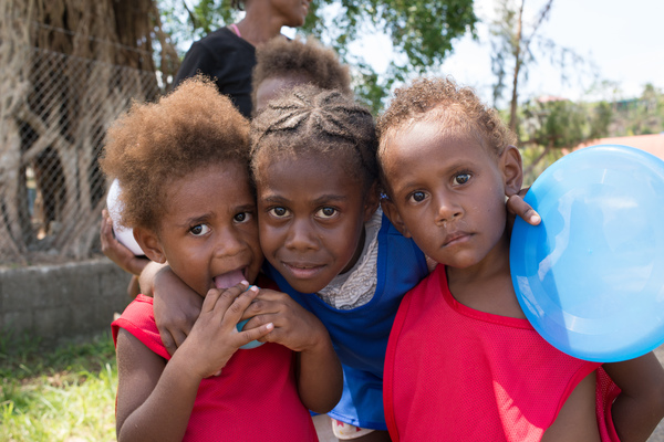 In the aftermath of cyclone Pam, children and volunteers in the Freswota neighbourhood of Port Vila spent a day at play thanks to a recreation kit from UNICEF. Play contributes significantly to children's recovery and adjustment in post-emergency situations.