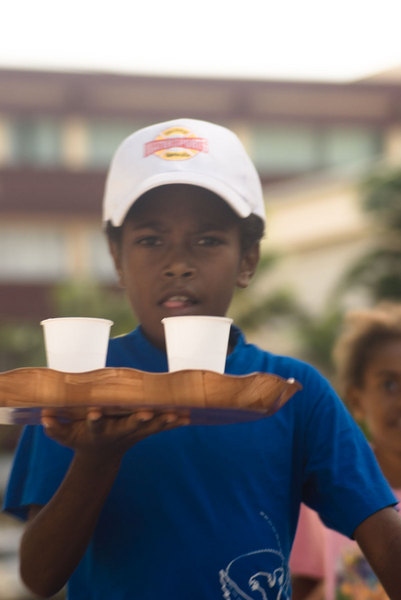 These children took part in the children's portion of the waiters and waitresses race.