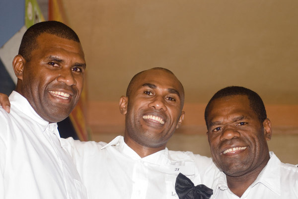Some of the men who competed in the waiters and waitresses race in  Port Vila this year.