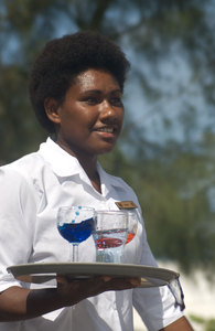 Some of the women who competed in the waiters and waitresses race in  Port Vila this year.