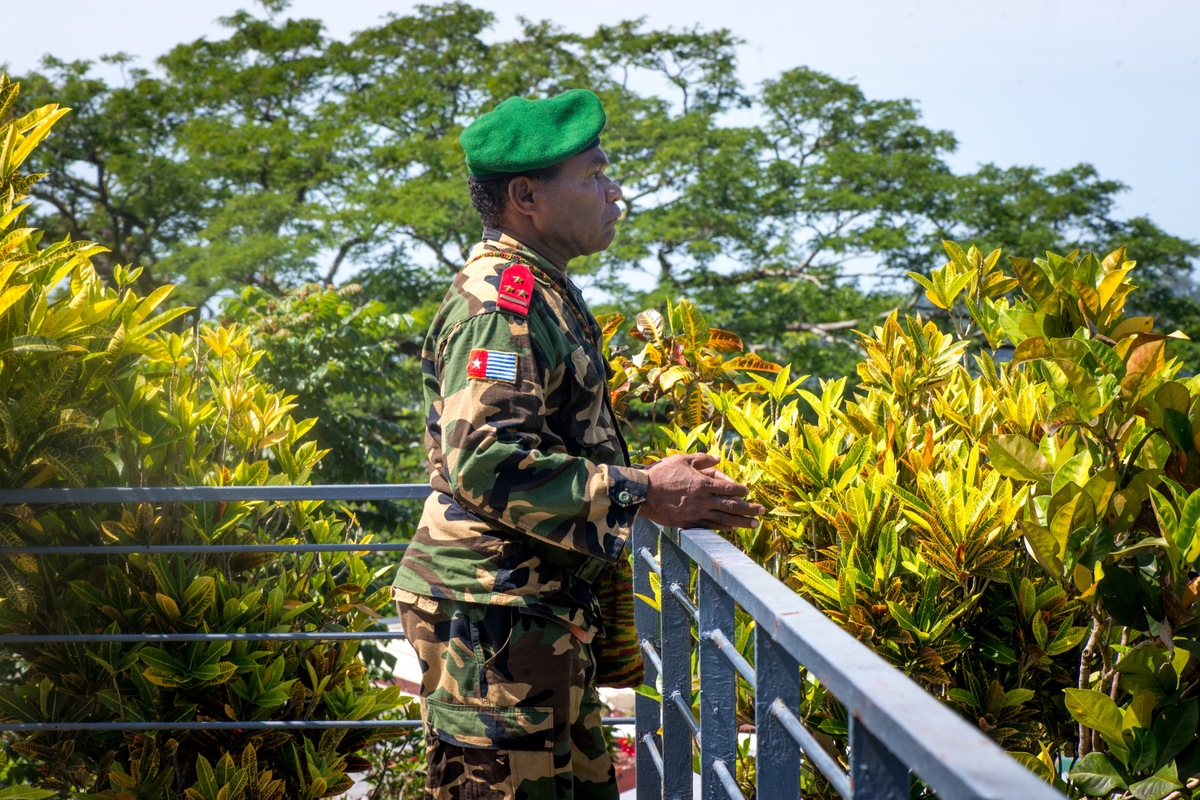 A West Papuan resistance leader stands at the balcony of the Vanuatu Prime Minister's office.