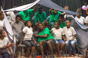 Members of Wan Smolbag Theatre's youth troupe perform in their play, 'Yumi Stap Wea?'