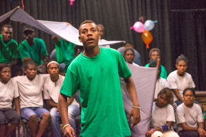 A member of Wan Smolbag Theatre's youth troupe performs in their play, 'Yumi Stap Wea?'