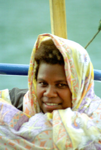 This woman wrapped herself tightly in a thin blanket as soon as she boarded the MV Malekula with us. The wind and water can be chilling, even in the tropics.