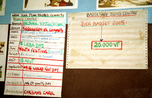 While it is amusing to see innocence at loose in the world, I prefer to think of these planning documents as perfect evidence of how development works most of the time. Somebody from 'outside' arrives, gives the faintest gist of what's  expected from their new partners, then leaves them to their  own devices to determine how this new tools is to be used. The locals, inspired by the bounty associated with the task (in this case, they got a whole new building), do exactly enough to ensure that the bounty keeps flowing. The cargo-cultish behaviour that we see in Vanuatu, though much  bemoaned by donors, is in my opinion quite enlightened. Where in the developed world can increase the net worth of one's community so simply and directly?
